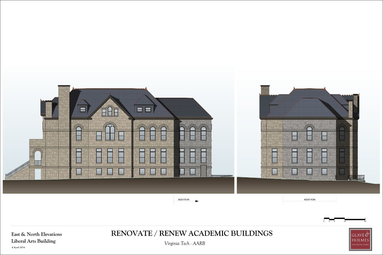 Renovate/Renew Academic Buildings |  East and North Elevations Liberal Arts Buildings