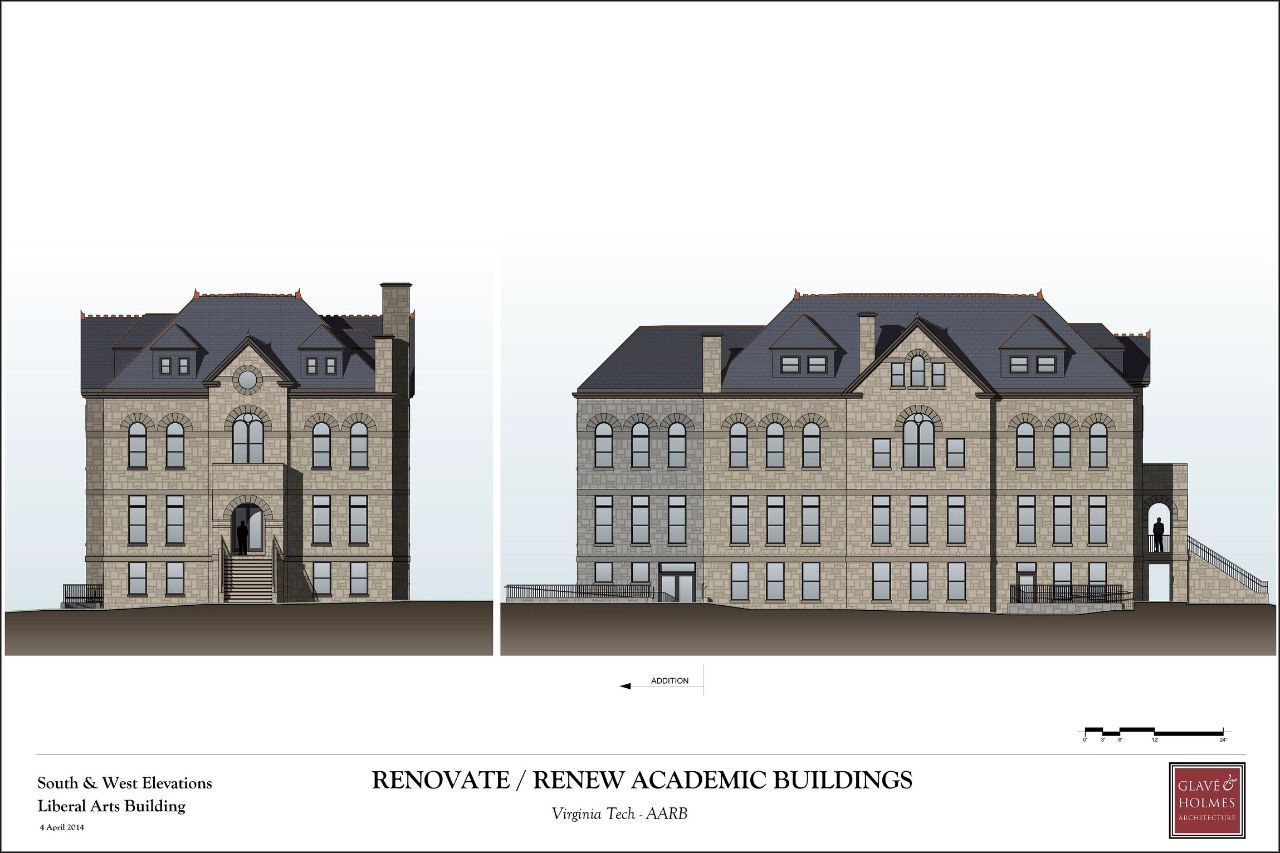 Renovate/Renew Academic Buildings | South & West Elevations Liberal Arts Building