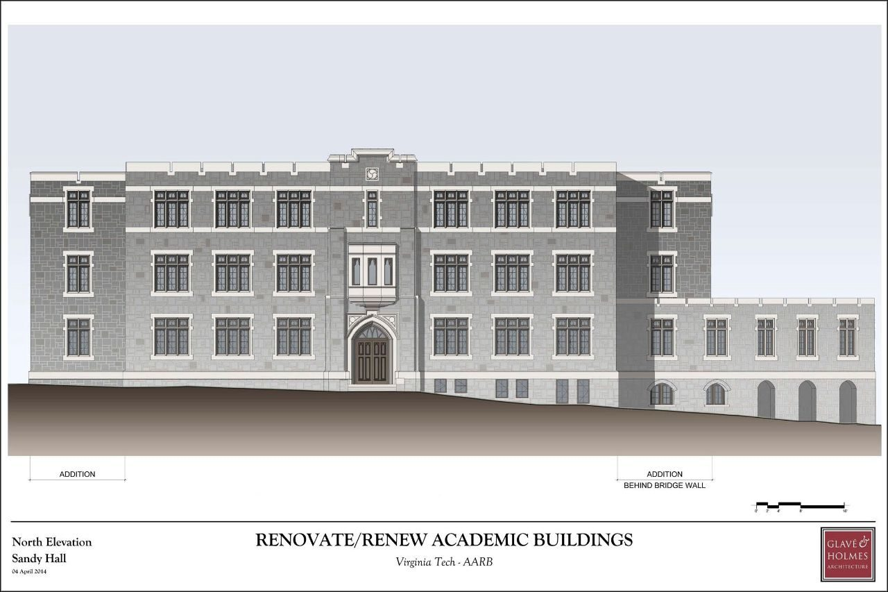 Renovate/Renew Academic Buildings | North Elevation Sandy Hall