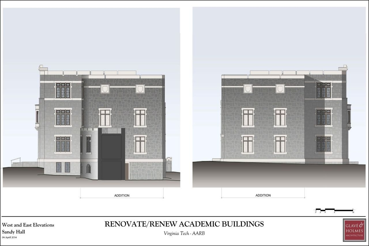 Renovate/Renew Academic Buildings | West and East Elevation Sandy Hall