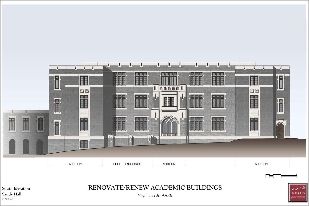 Renovate/Renew Academic Buildings | South Elevation Sandy Hall
