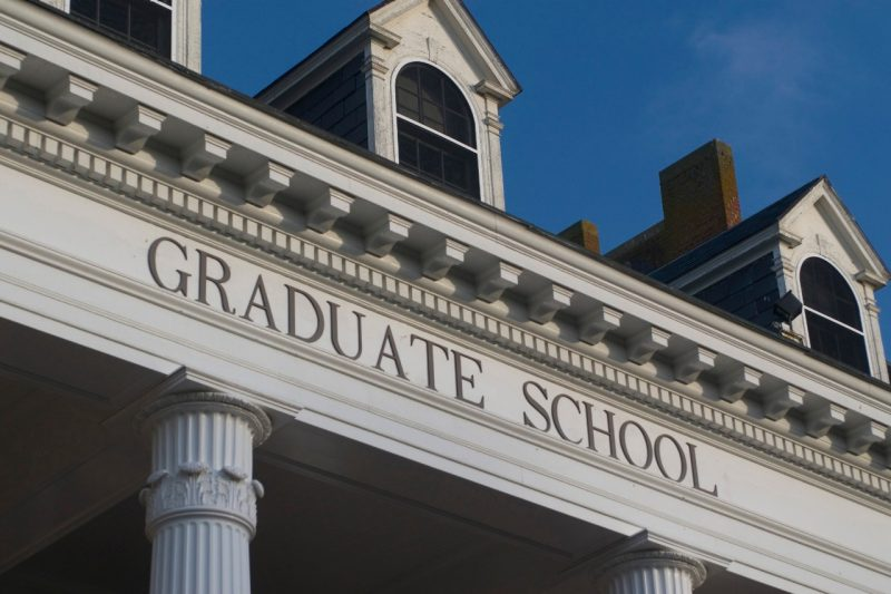 A detail of the portico over the entrance to the Graduate Life Center