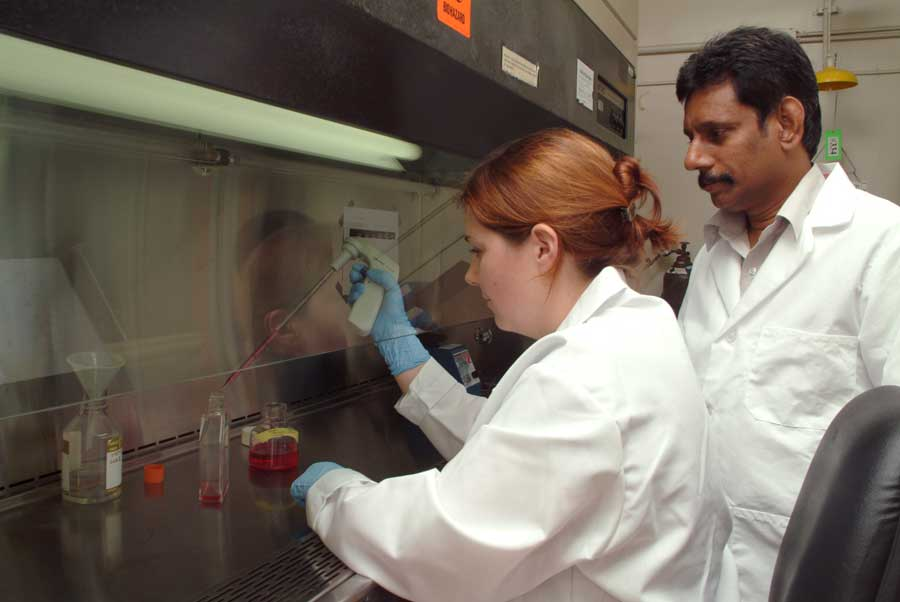 Subbiah (right) works with a student in his lab.