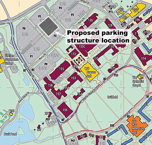 This excerpt of the university's campus map shows the location of the planned parking structure in the Perry Street commuter parking lot.