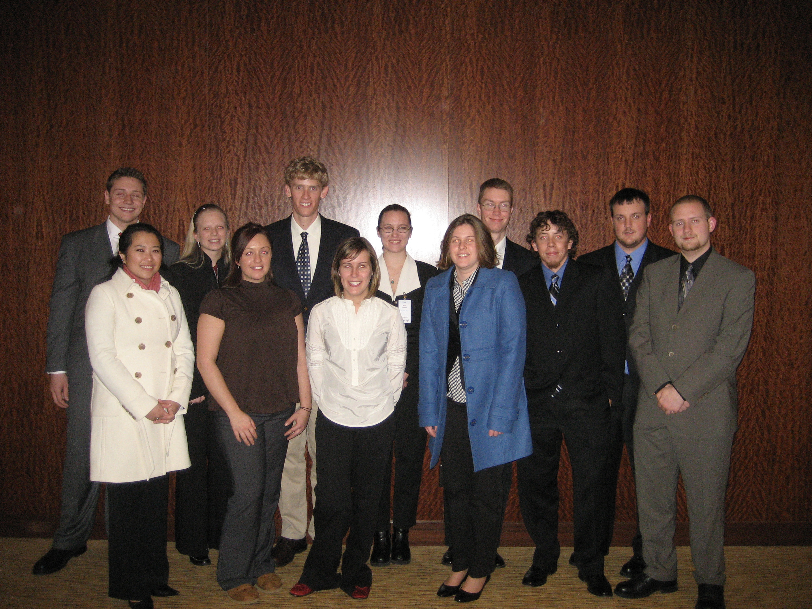 Pictured are the mining engineering students of the 2008 Virginia Tech Student Design Competition teams. Back row, left to right, are: Alek Duerksen, Holly Fitz, Andrew Storey, Kate Glusiec, David McConnell, and James Winfield. Front row, left to right, are: Rosalyn de la Pena, Carolyn Relyea, Erica Doolittle, Bridget Mead, Travis Tyndall, and John Bowling.