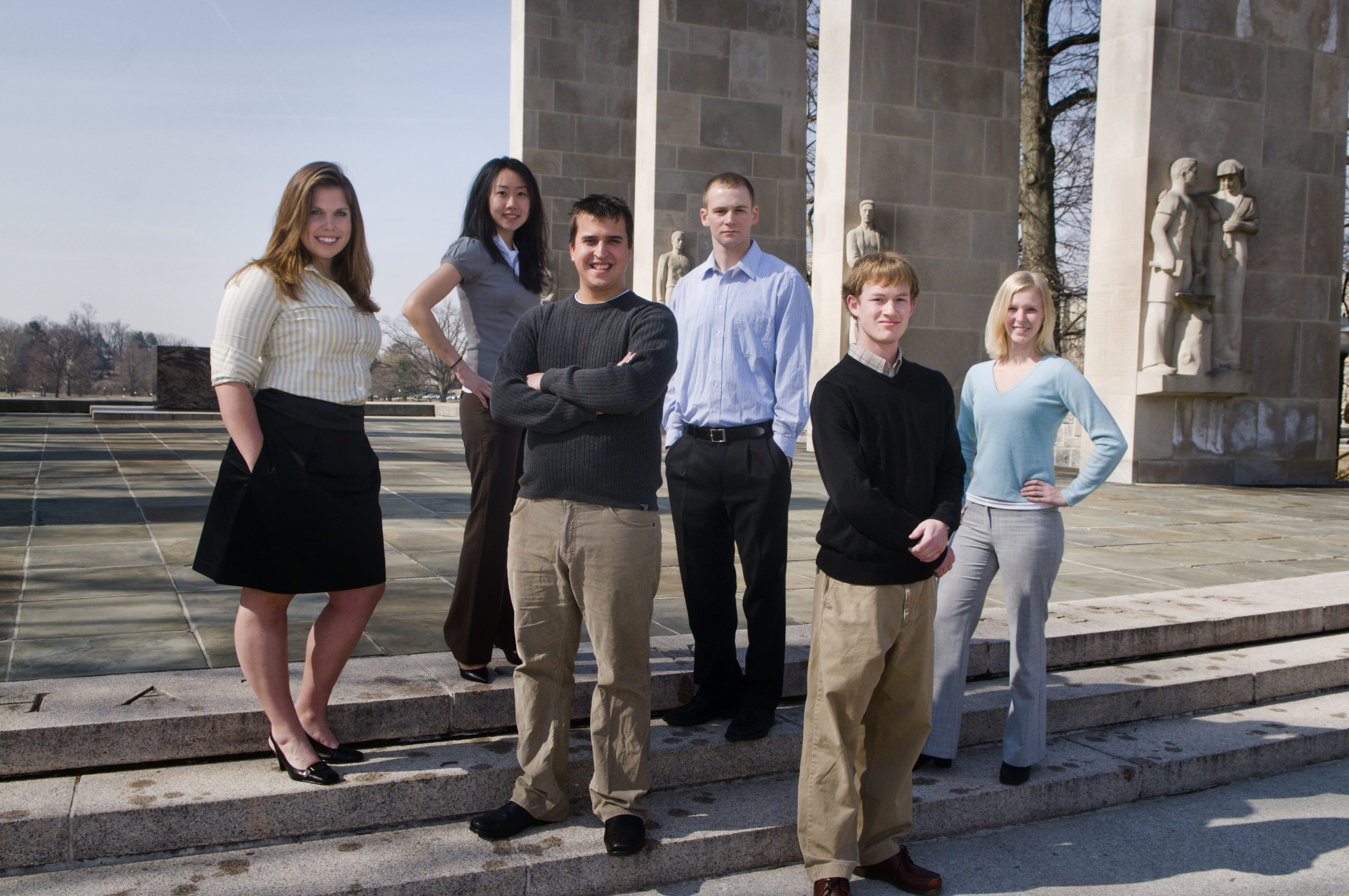 Virginia Tech students who will  present their research at the fourth annual Atlantic Coast Conference Meeting of the Minds undergraduate research conference in at North Carolina State University on April 2-4 are (left to right) Michelle Klassen, Sara Lu, Aaron Kroll, Jon Crain, Garrett Smith, and Sandra Hobsen.