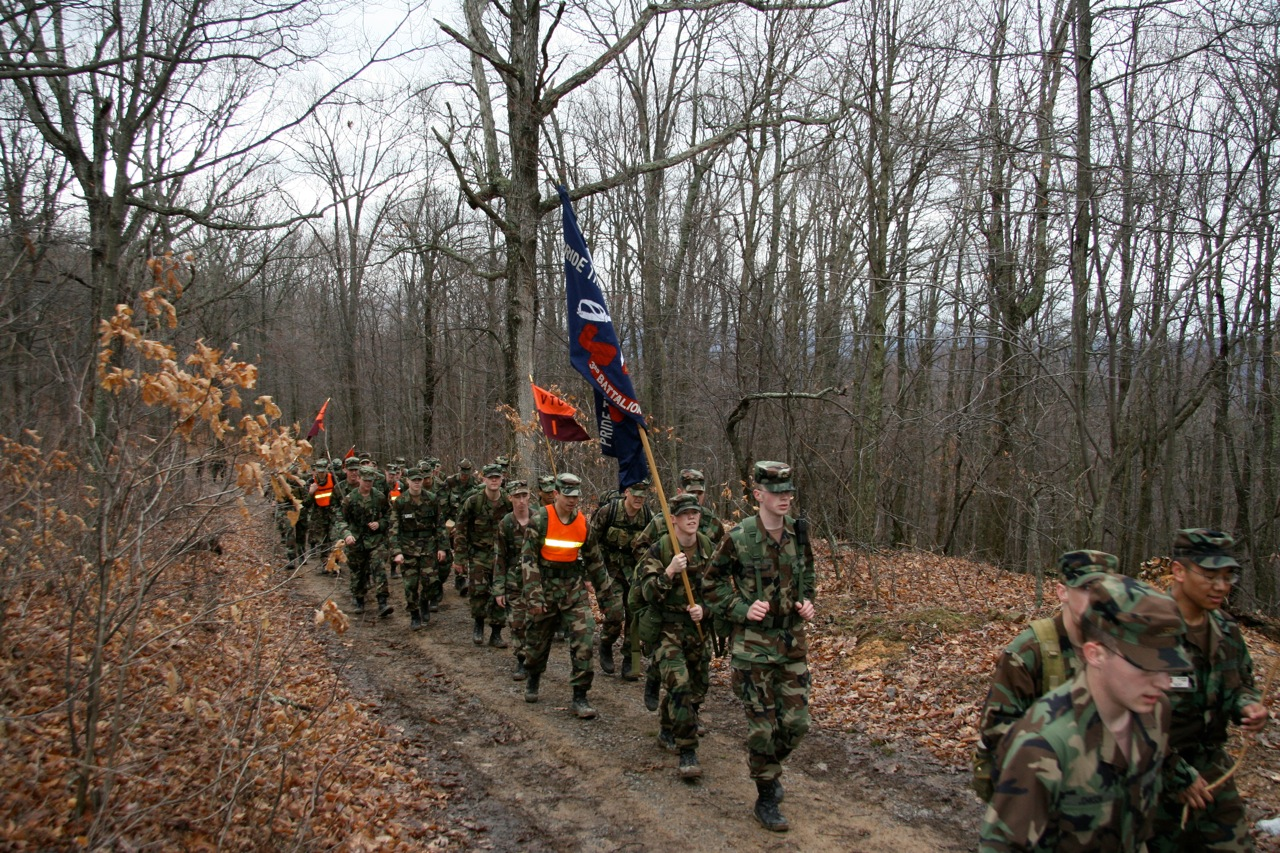 Cadets march along the second half of the route.