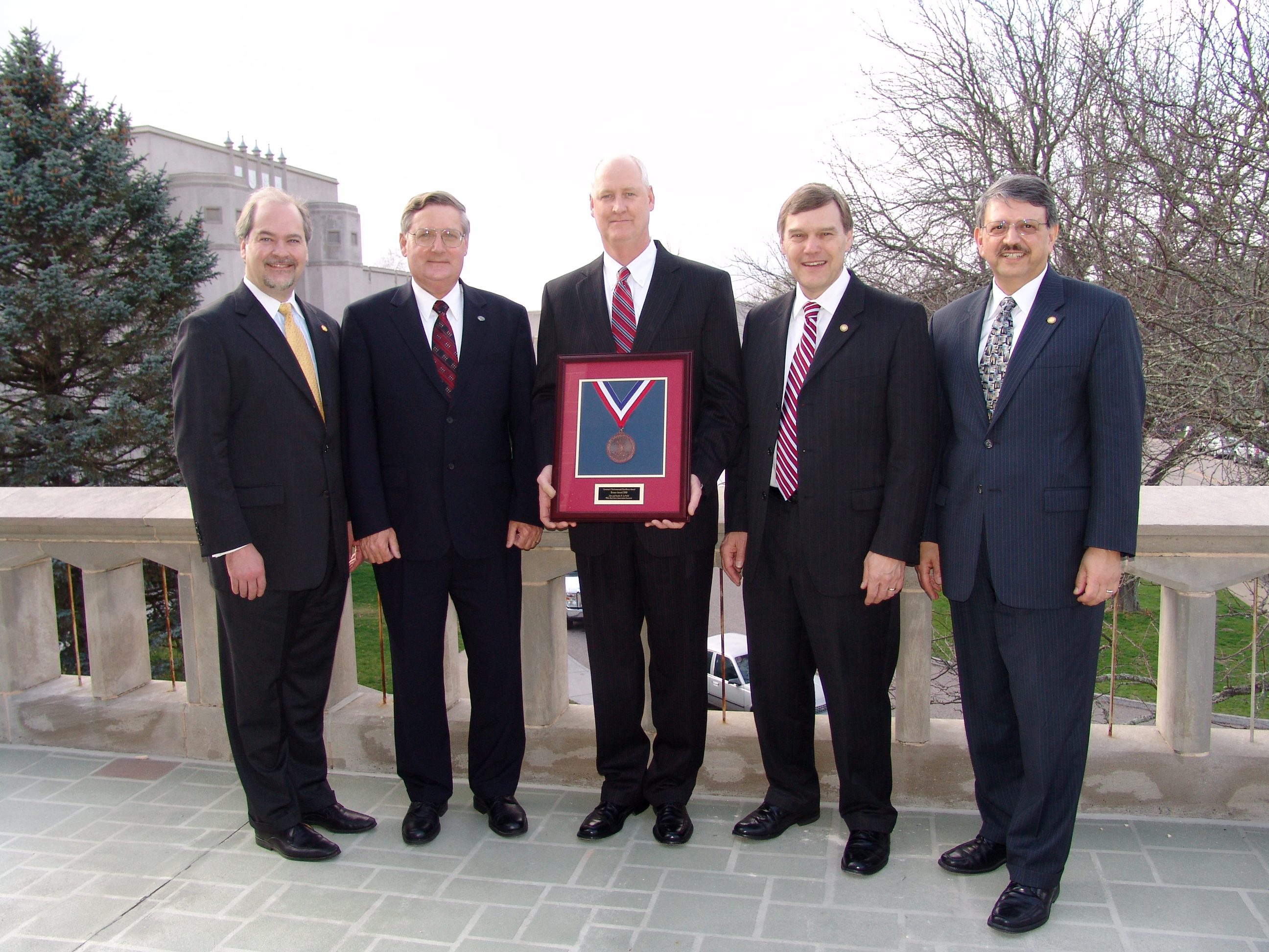 From left to right are Virginia's Secretary of Natural Resources L. Preston Bryant, Jr., Virginia Tech Sustainability Program Manger Denny Cochrane, Virginia Tech's Associate Vice President for Facilities Services Mike Coleman, Virginia's Director of Environmental Quality David Paylor, and Virginia's Director of Conservation and Recreation Joe Maroon.