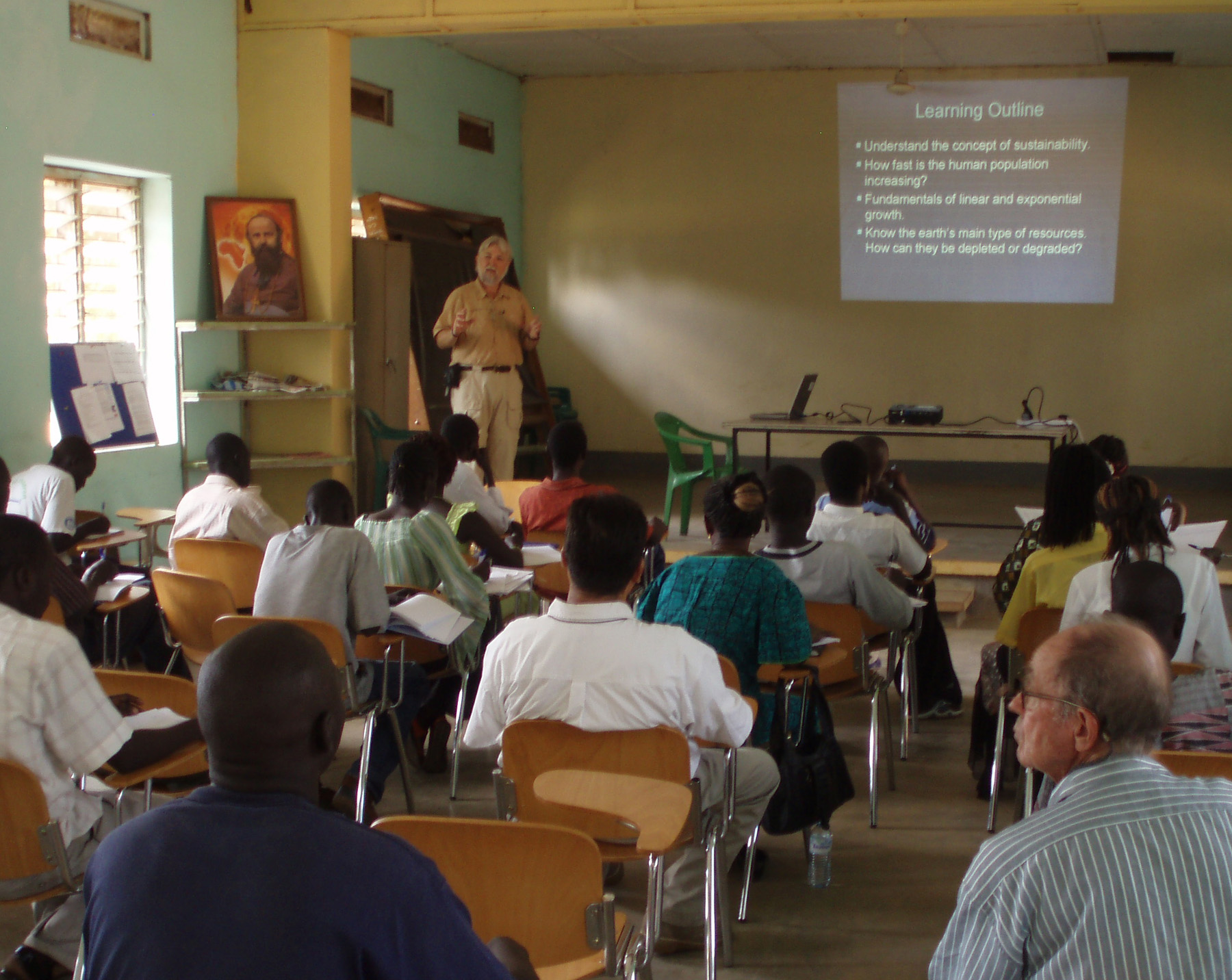 Virginia Tech professor Theo Dillaha presents a guest lecture on sustainability at the Catholic University in Sudan.