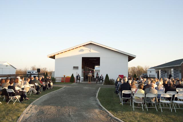 More than 160 people turned out to participate in the dedication ceremony to name a new barn on the campus of Virginia Tech's Marion duPont Scott Equine Medical Center's campus in honor of Paul R. Fout.