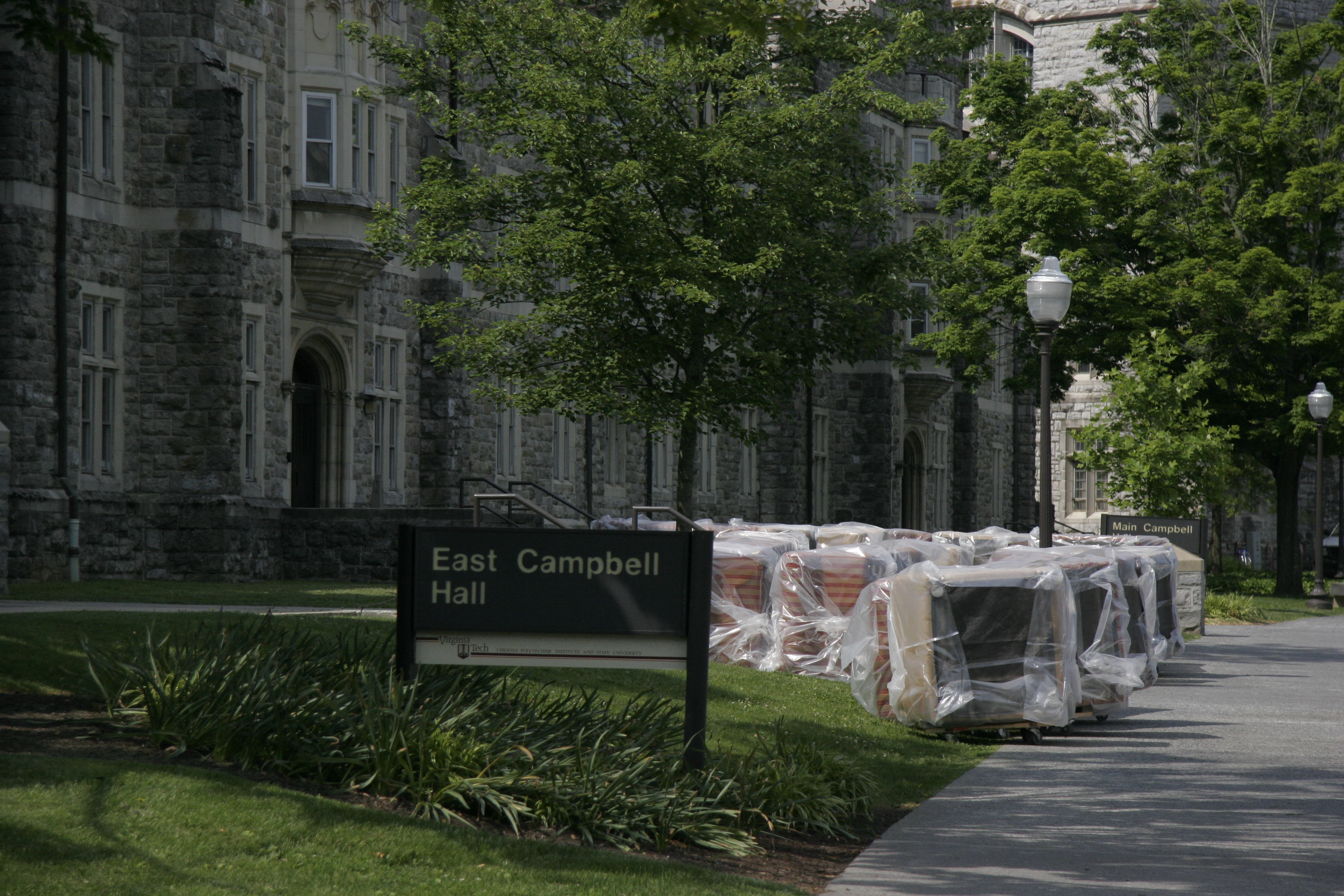 New modular lounge furniture awaits installation in East Campbell Hall.