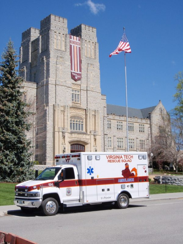 A Virginia Tech Rescue Squad ambulance
