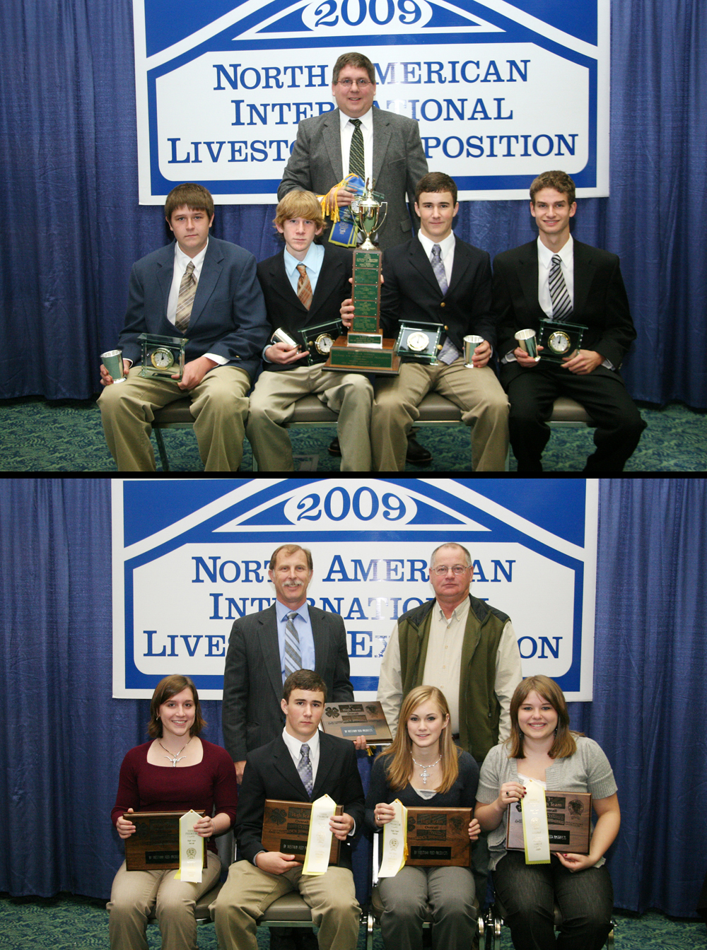 Top image Virginia 4-H Livestock Judging Team, seated left to right: Lacey Koontz, Bobby Strecker, Laura Kate Reeves, and Bly Patterson. Standing (left) Mark Wahlberg, coach, and (right) Willie Hayes of Westway Feeds sponsored the awards. Bottom image Virginia 4-H Skillathon Team, left to right: Logan Turner, Christian Deavers, Bobby Strecker, and Marshall Slaven. Standing is Eric Stogdale, coach.