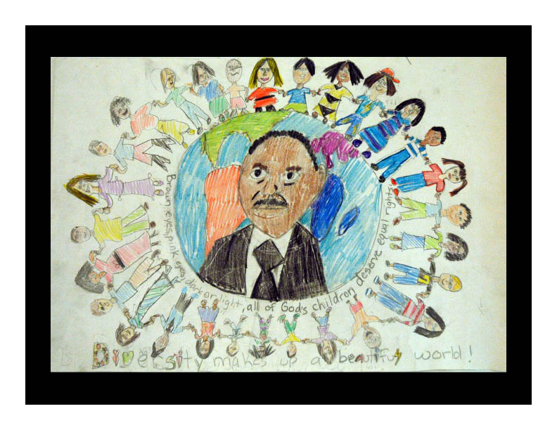 Art by Tori Shimozono from the 2008-09 Martin Luther King poster competition. At the time she created it, she was a third grader at Gilbert Linkous Elementary School in Blacksburg, Va.