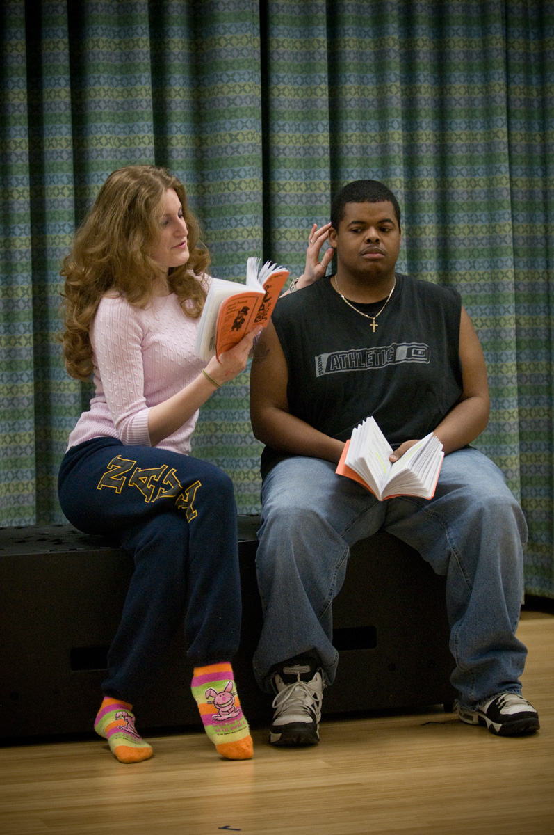 Virginia Tech students Sarah Wylie and Jarreau Williams rehearse for the production.