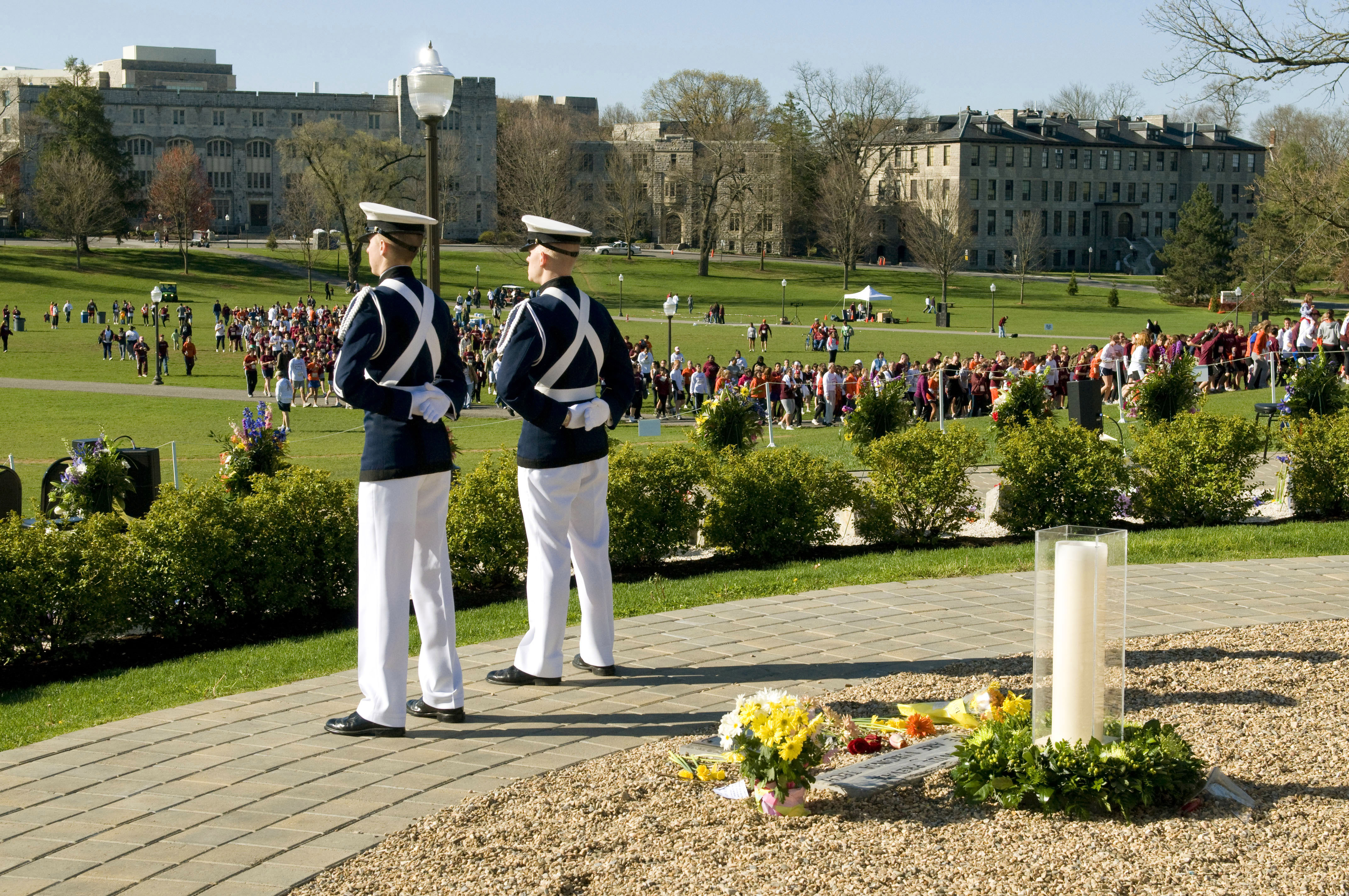 Cadets stand vigil at the memorial.