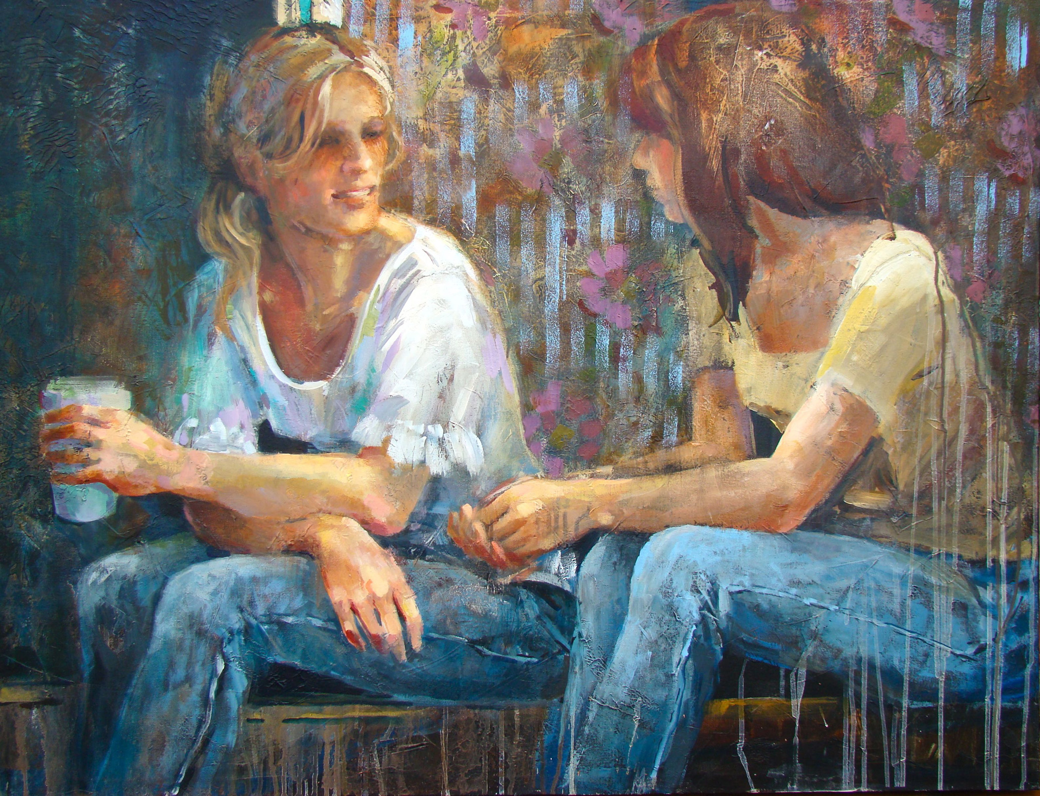 """Confiding Over Coffee"" is the work of Vera Dickerson, featured artist and juror for Whispering Muses: Inspired by Women Artists."