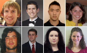 Left to right, top row are Patrick Carter, Matthew Hiser, David Jiang, and Alexa Karatsikis. Left to right, bottom row are William Nachlas, Isaac Nardi, Mikhelle A. Taylor, and Erin Weiss.