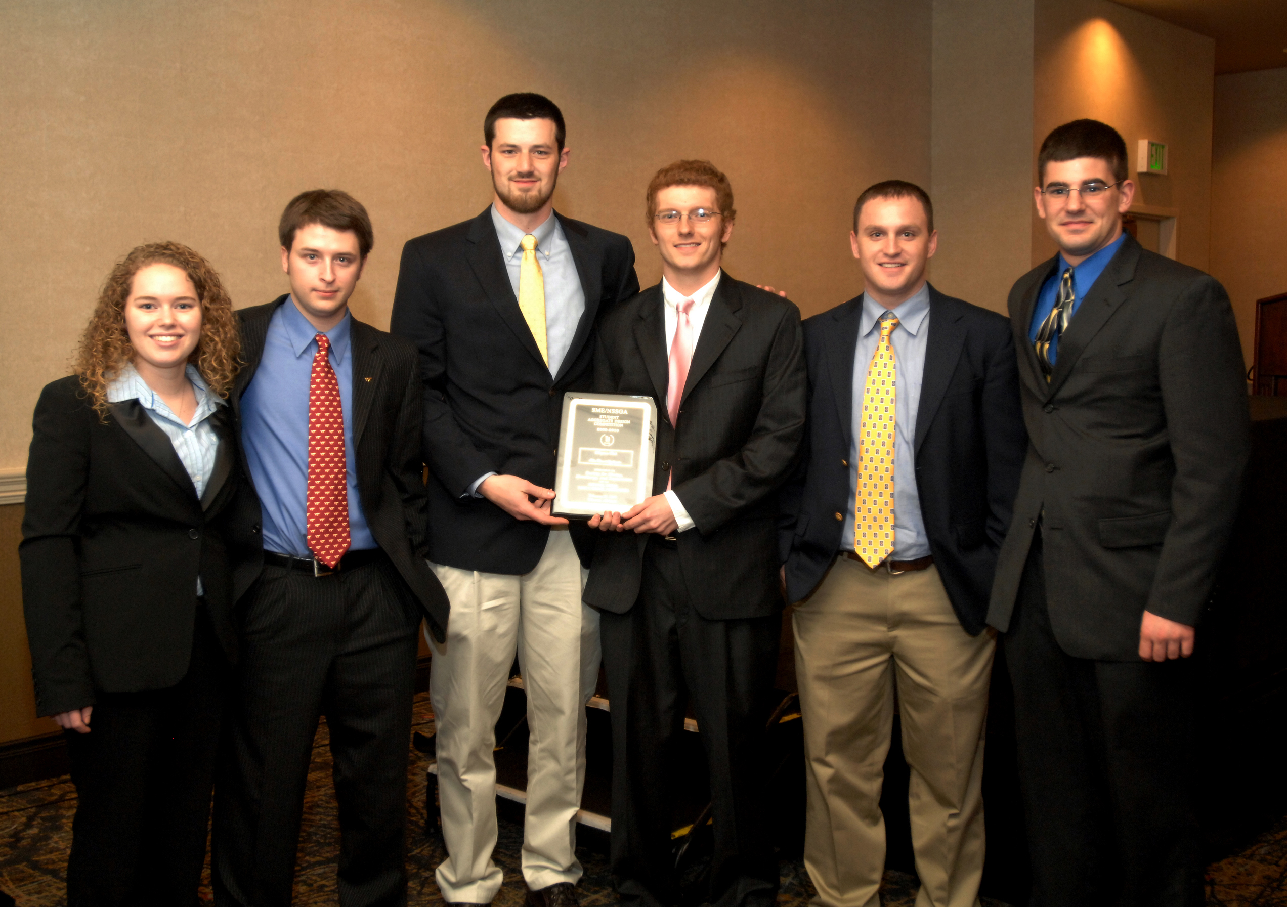 Members of New River Aggregates are pictured with their top prize in this year's SME/NSSGA Student Design Competition. Left to right are: Susie Underwood, Scott Hutchins, Ben Fahrman, Blane Bowers, Ricky Rose and Dan Sadtler.