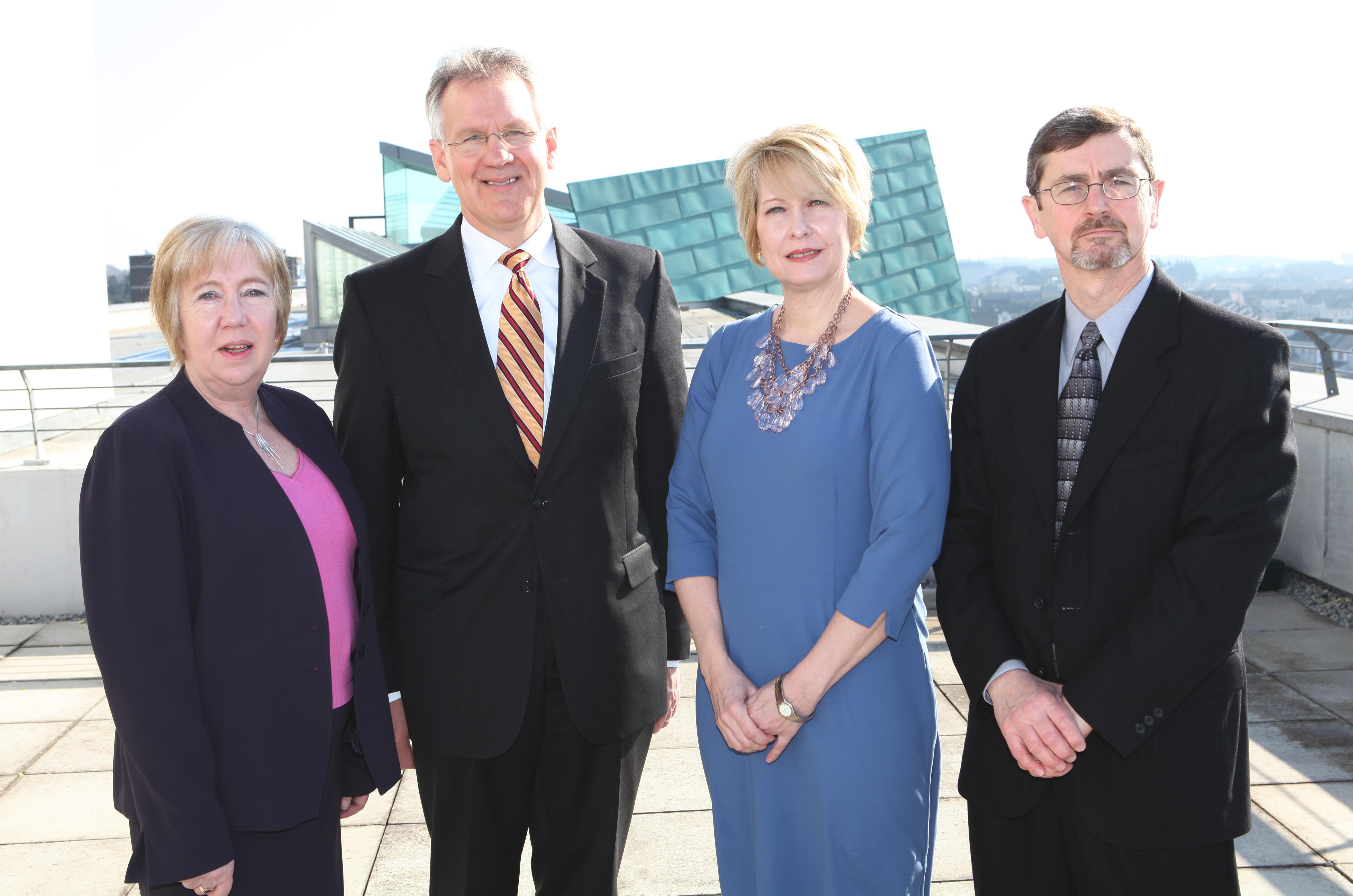 Pictured left to right are Marion Coy, president of the Galway–Mayo Institute of Technology; Paul Winistorfer, dean of the Virginia Tech College of Natural Resources; Betty Adams, executive director of the Southern Virginia Higher Education Center; Robert Bush, professor in Virginia Tech's Department of Wood Science and Forest Products.