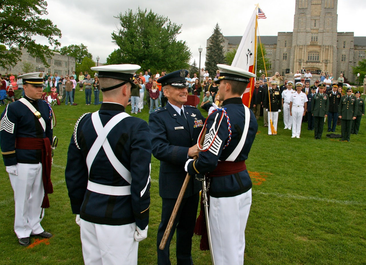At the 2009 Change of Command Ceremony, the Commandant of Cadets Maj. Gen. Jerrold Allen officiates the passing of command from now 2nd Lt. Gaddis to Cadet John Steger.
