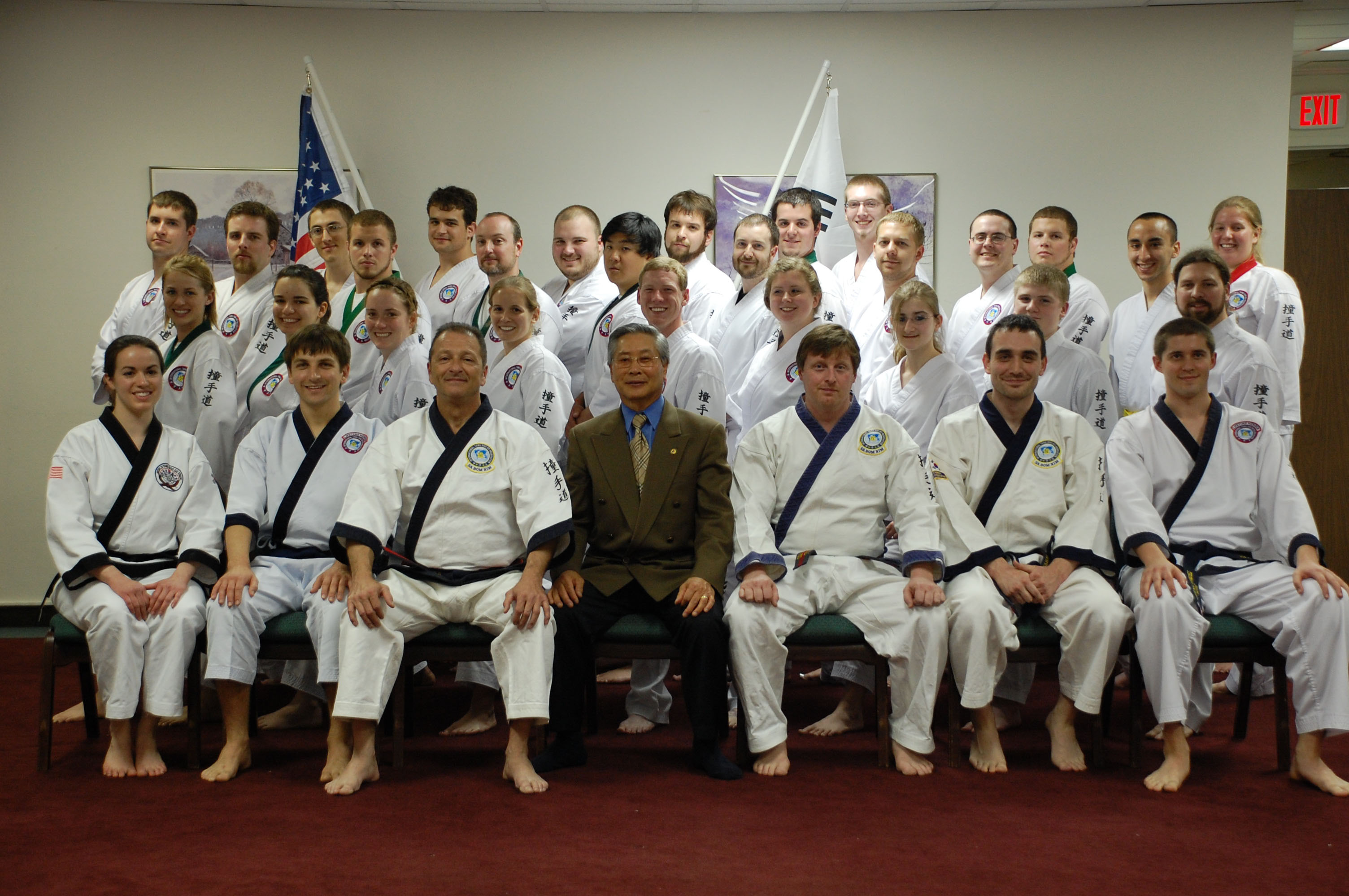 Members of the Tang Soo Do Karate Organization at Virginia Tech with Grand Master Kim.