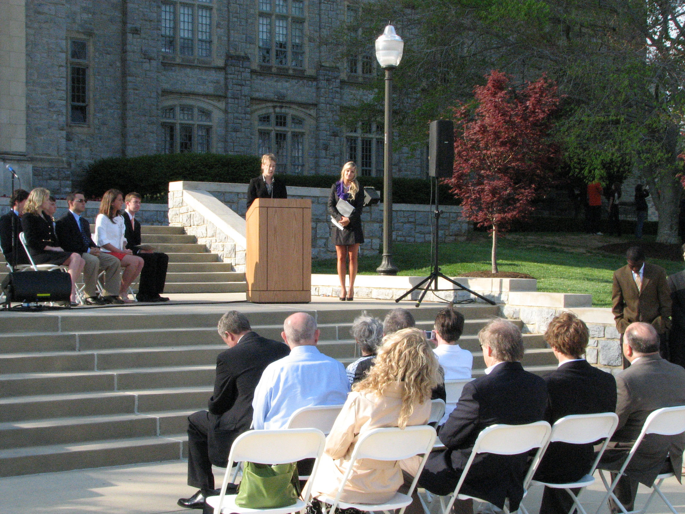 The Virginia Tech Student Government Association inauguration of incoming officers on the steps of Burruss Hall.