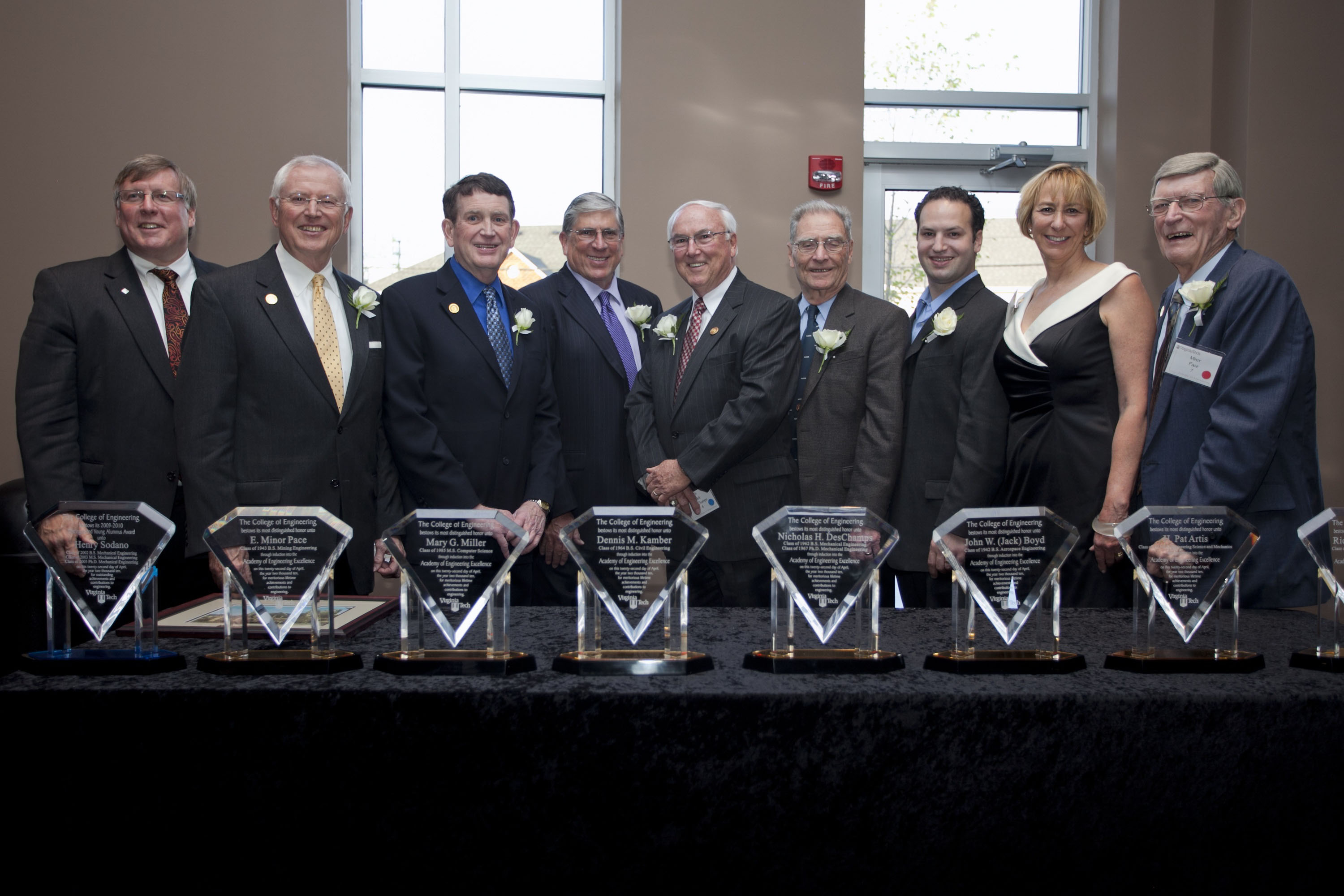 Pictured are the new members of the Academy of Engineering Excellence at Virginia Tech. From left to right, are:  Richard Benson, dean of Virginia Tech's College of Engineering, who presented the awards; Richard Arnold of Blacksburg, Va.; H. Pat Artis of Pogosa Springs, Colo.; Dennis M. Kamber of Poolesville, Md.; Nicholas DesChamps of Fincastle, Va., and Las Vegas, Nev.; John W. Boyd of Saratoga, Cal.; Henry Sodano (named the 2010 Outstanding Young Alumnus at the same event and not a member of the
