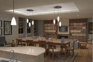 The faculty apartments will feature an open kitchen and dining area for entertaining groups of students, with a more private area for faculty living space.