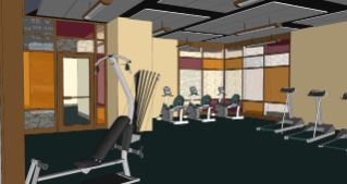 The future fitness area is centrally located on the first floor between the east and west wings.