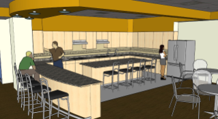 The future kitchen space in Ambler Johnston Hall will house two cook tops and lots of counter space with bar seating to accommodate large family-style meal preparation.