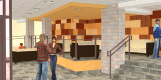 The future lobby of Ambler Johnston Hall will feature multicolored wood panels and tile flooring that reflect the character of the Virginia Tech campus.