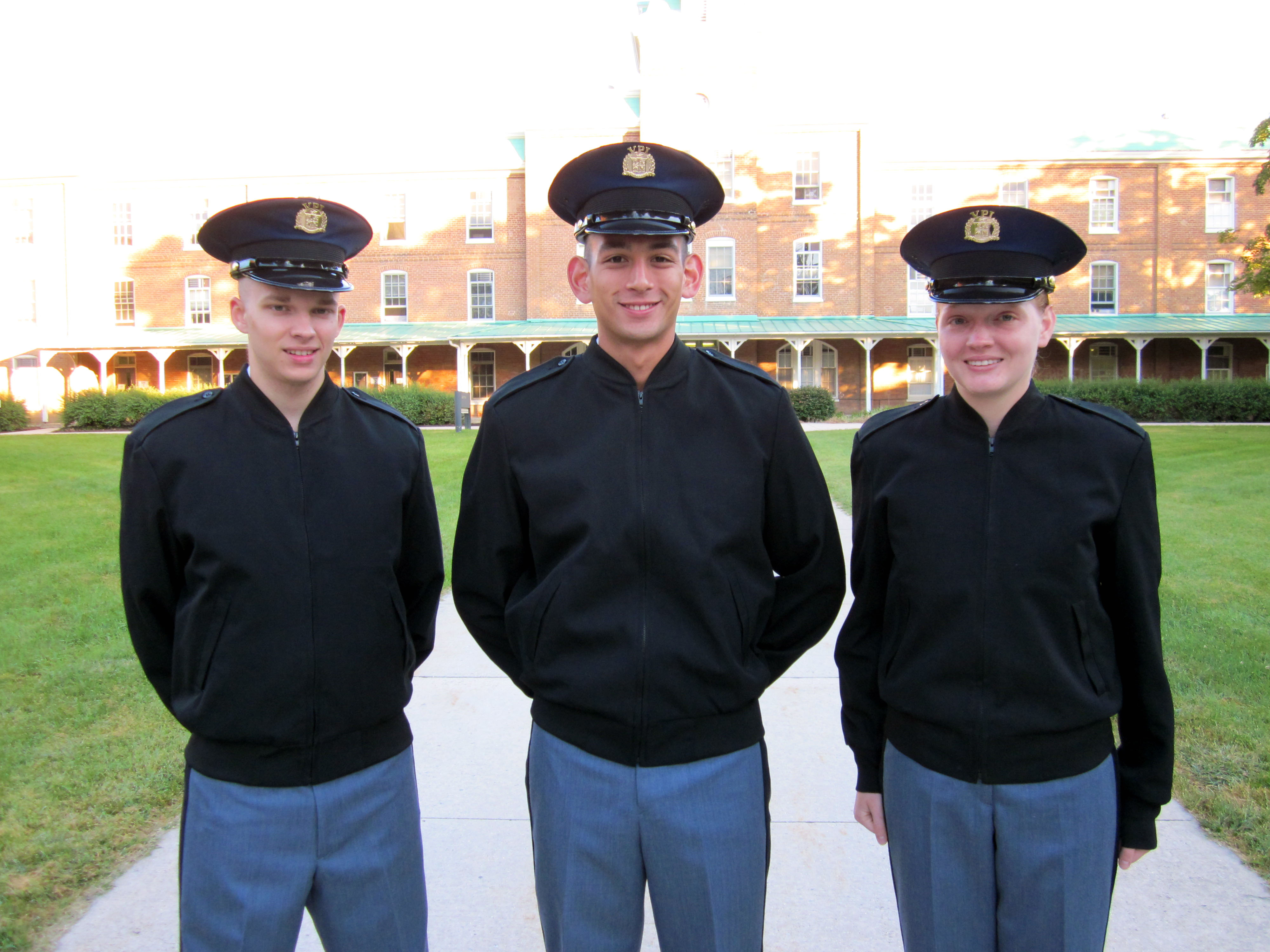 From left to right are Cadets Matthew Hitchcock, Scott Phelps, and Megan Burton