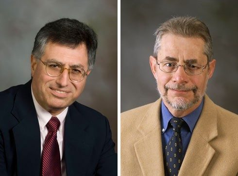 Marketing professor Joseph Sirgy (left) is a specialist in quality-of-life research; management professor Richard Wokutch focuses on international business ethics and the global management of corporate social performance.