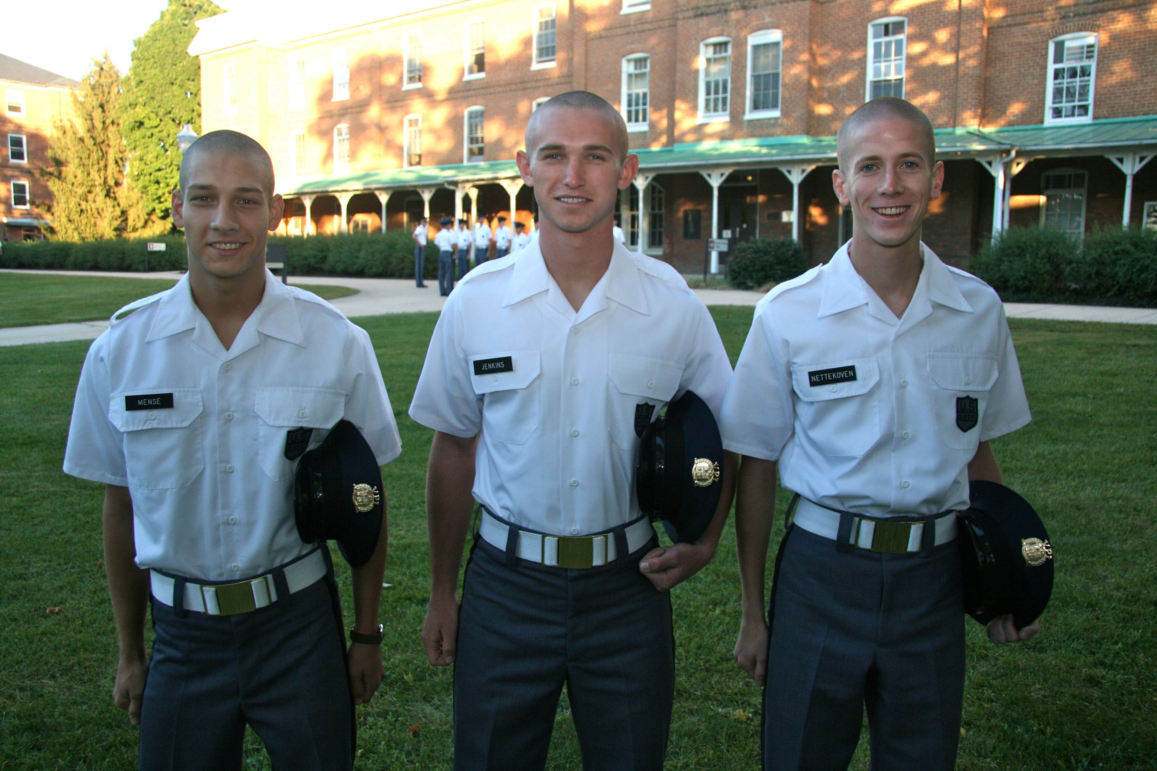 From left to right are Cadets Hunter Mense, Andrew Jenkins, and Peter Nettekoven