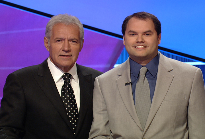 Roger Craig (right) and Alex Trebek