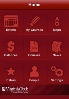 Home screen of the Hokie Mobile application