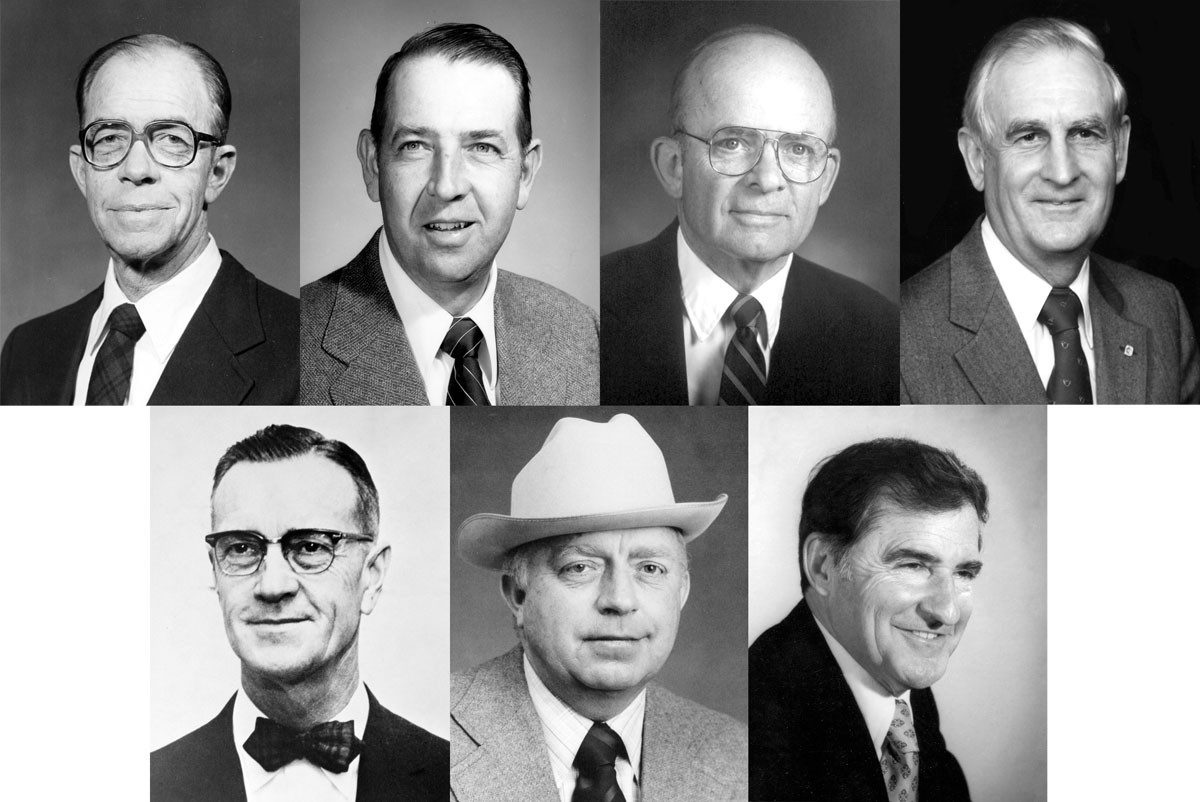 The first group of honorees in the Virginia Livestock Hall of Fame includes several Virginia Tech alumni and faculty members. Top, L-R: George A. Allen Jr., Richard S. Ellis IV, William M. Etgen, and Ritchie Allen Jordan. Bottom, L-R: George Washington Litton, Roy Allen Meek, and James R. Nichols.