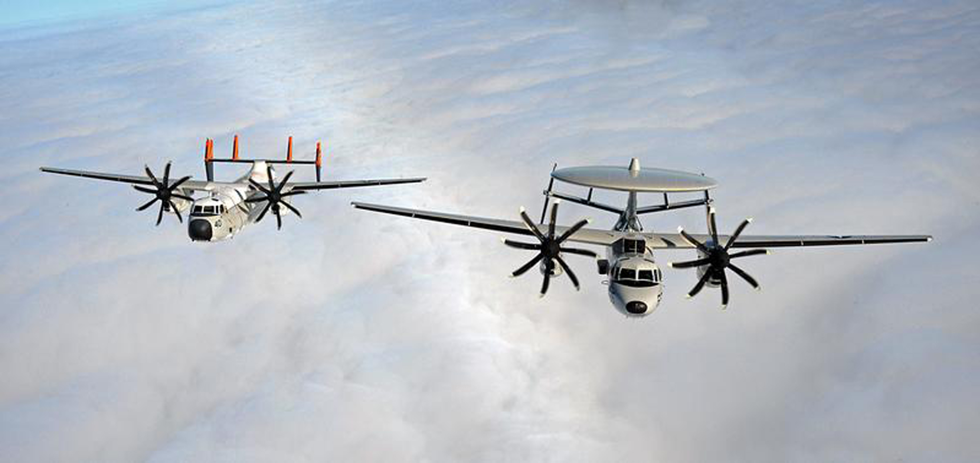 Shown left to right are a C-2A Greyhound and an E-2C Hawkeye.