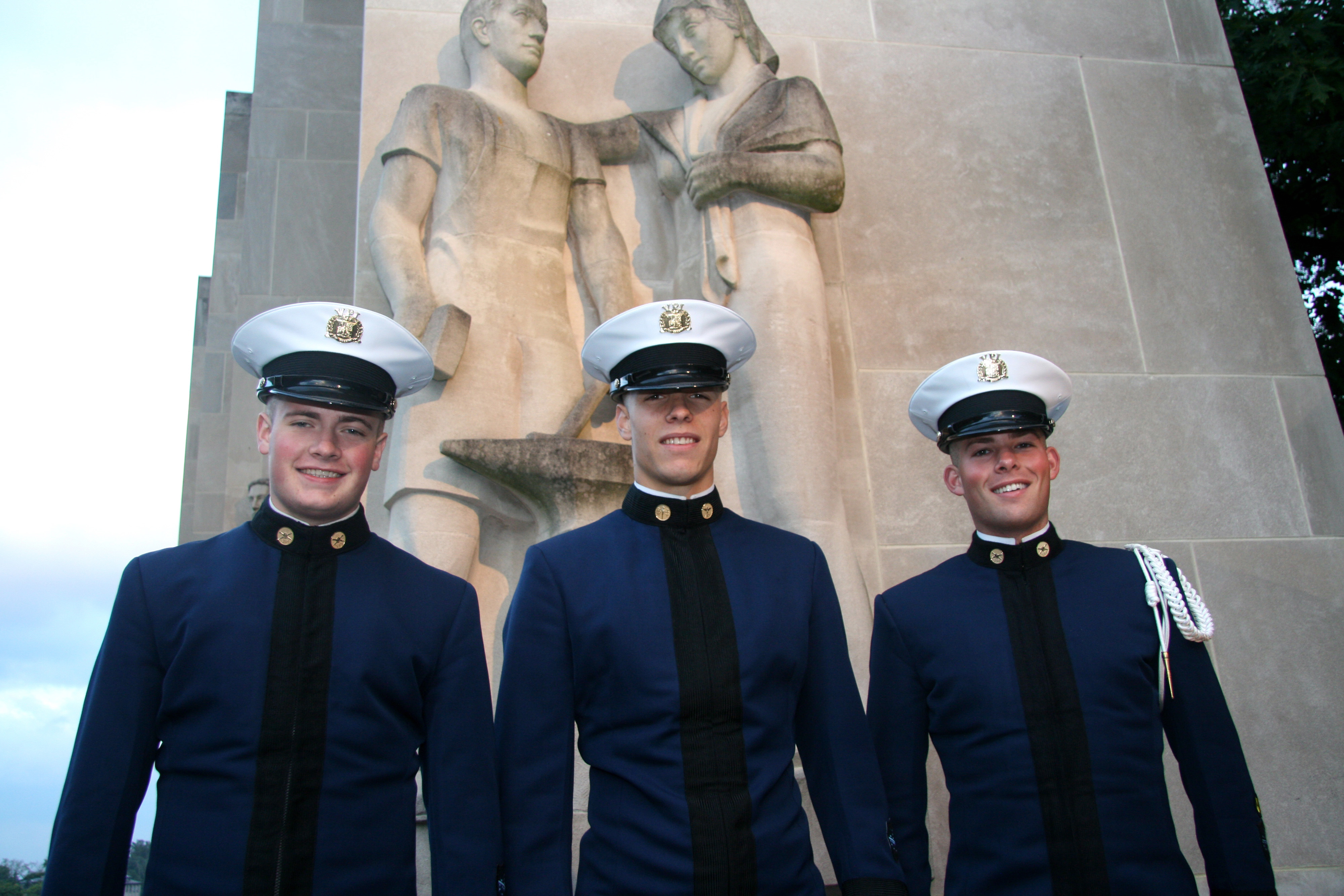 From left to right are Cadets Brendan Blawie, Ian Marble, and Alexander Zuchowicz