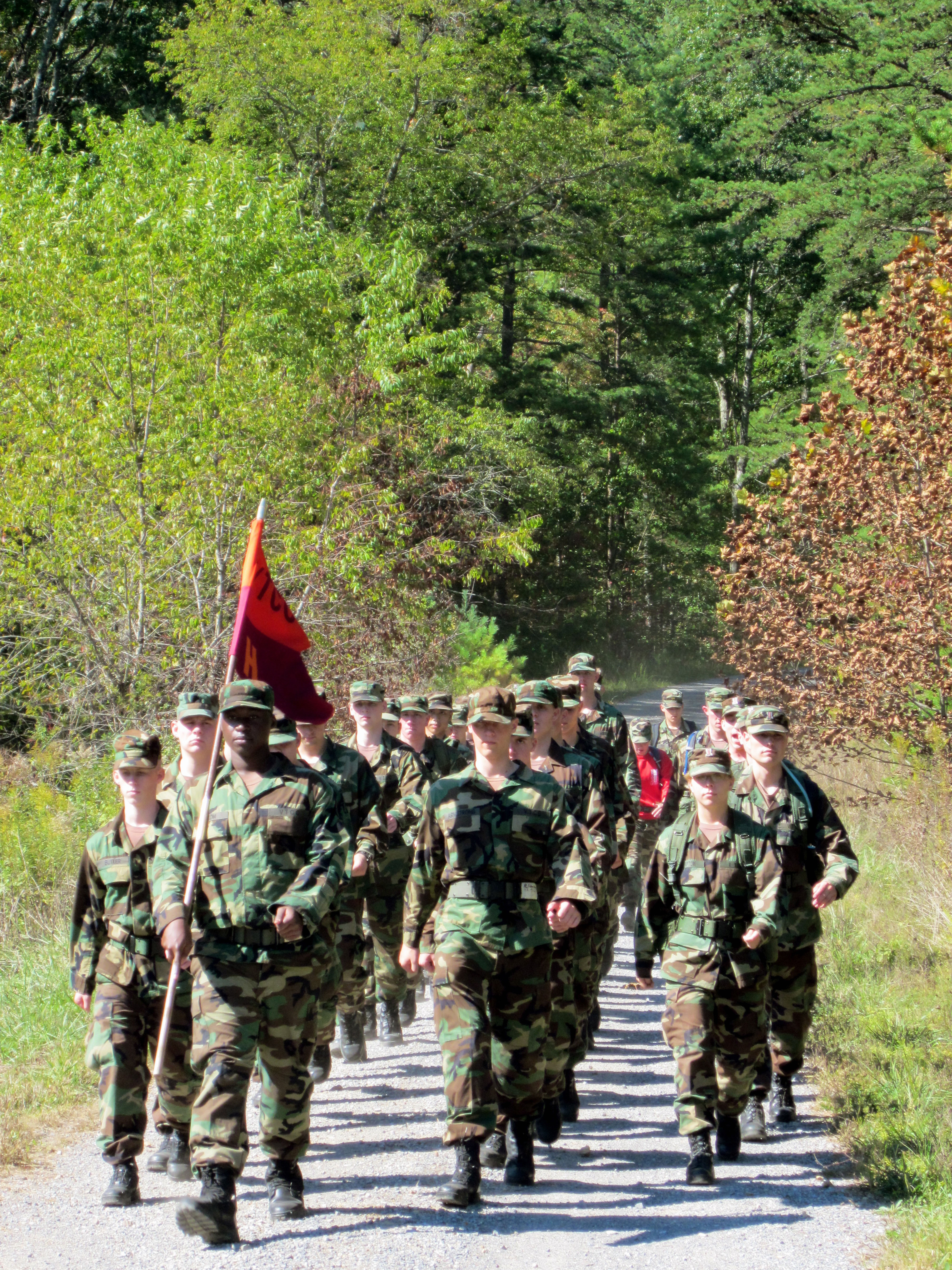 Members of Training Company 2-4 march down the last road during the Fall Caldwell March.