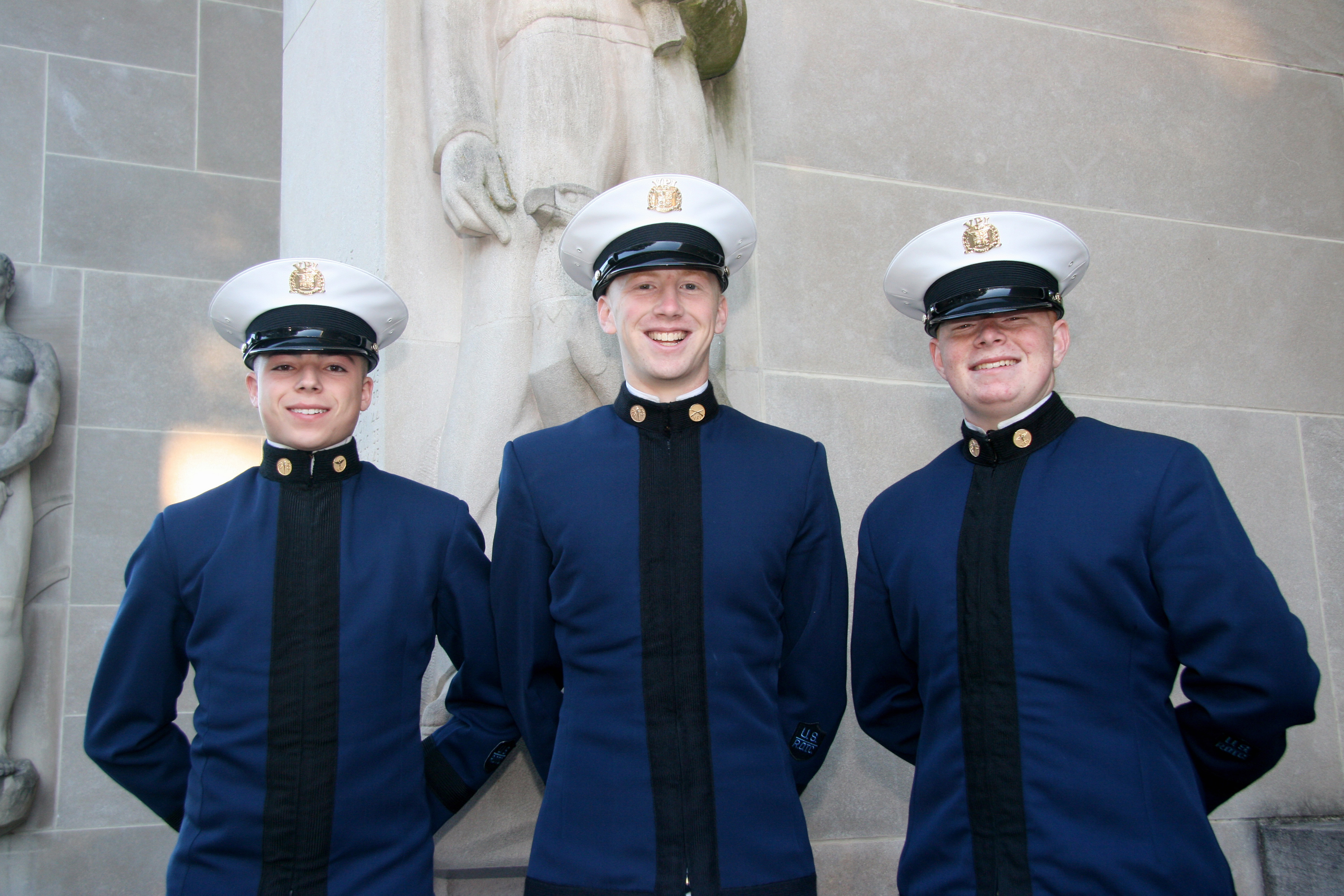 From left to right are Cadets Joshua Schnaitman, Richard Smullen, and William Frosell