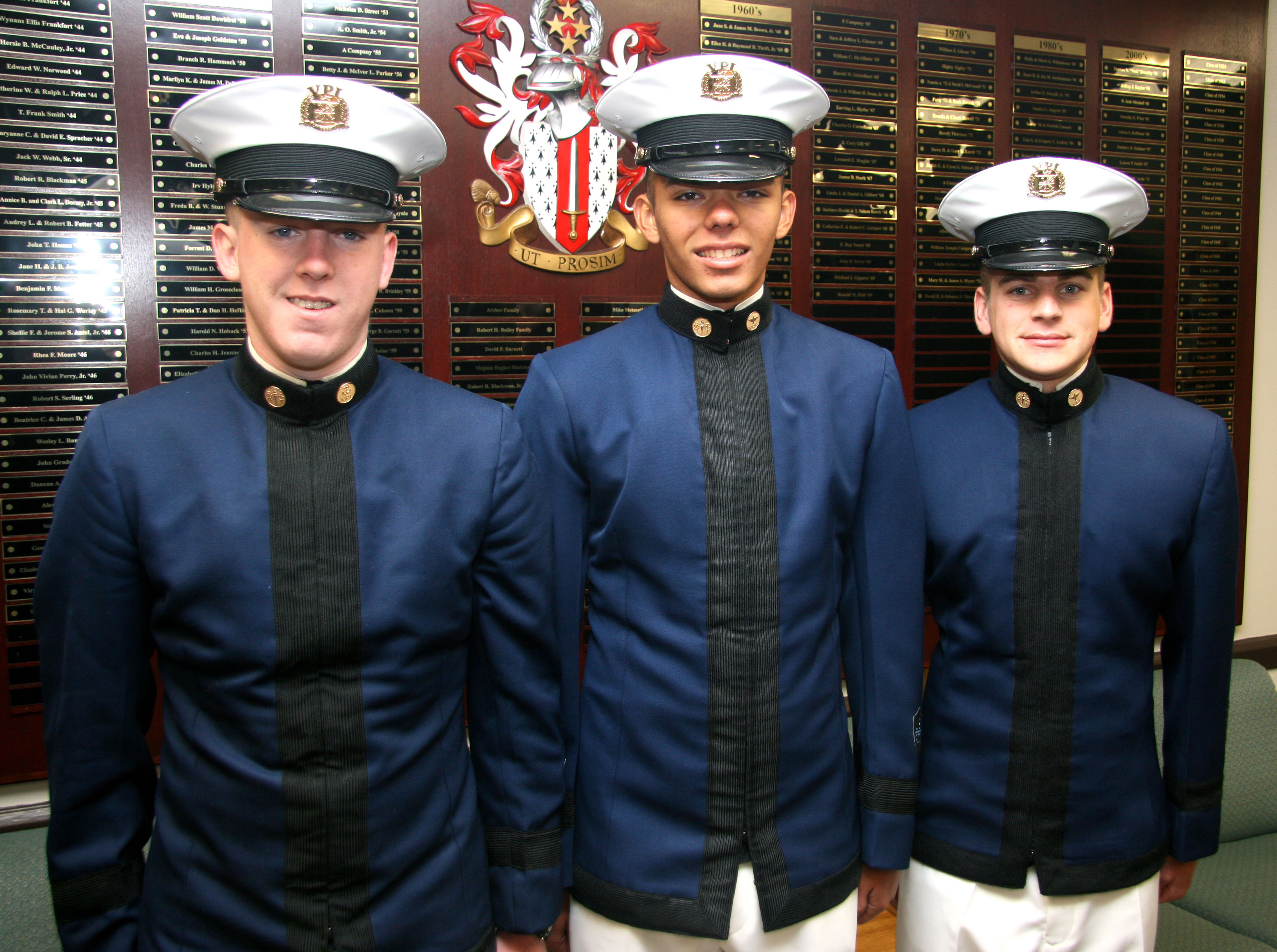 From left to right are Cadets Evan Glynn, Zachary Baranek, and Tyler Wallis