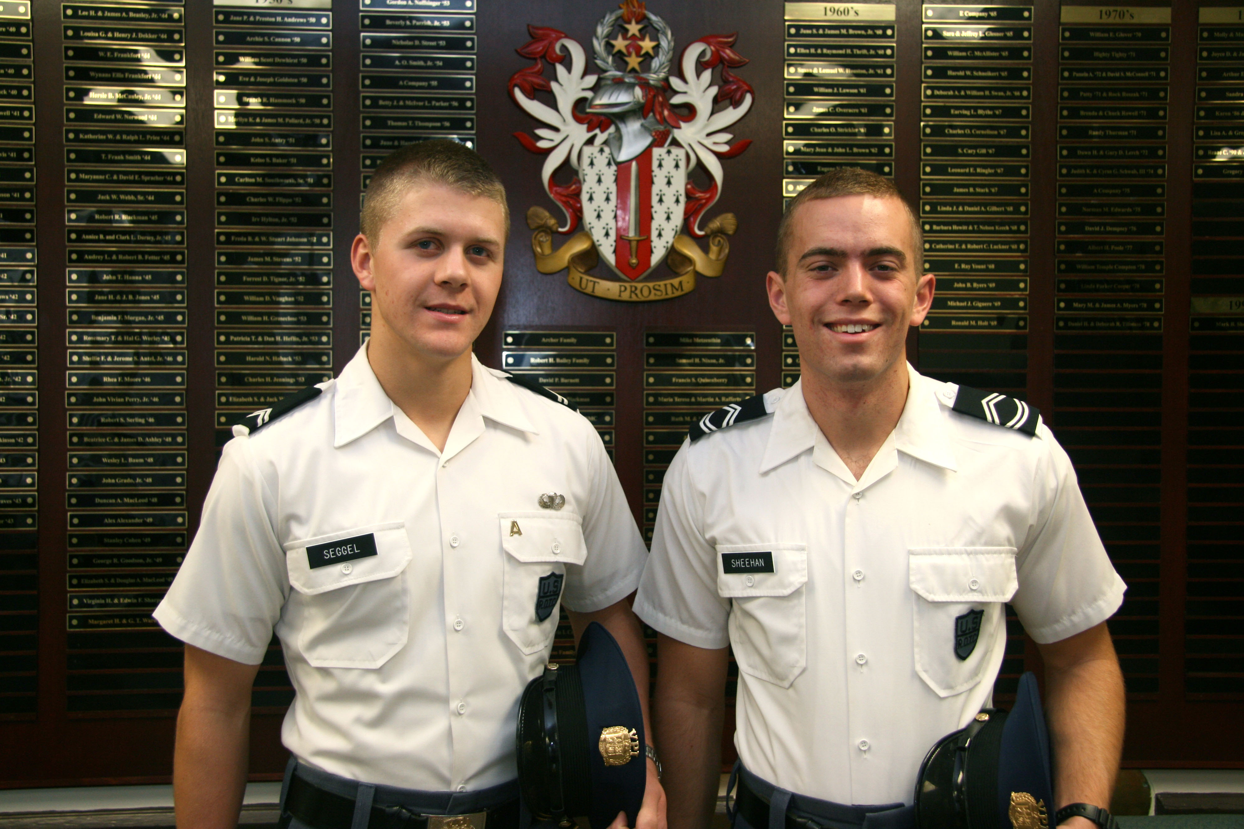 From left to right are Cadets Peter Seggel and James Sheehan
