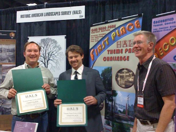 Members of the landscape architecture team show their award