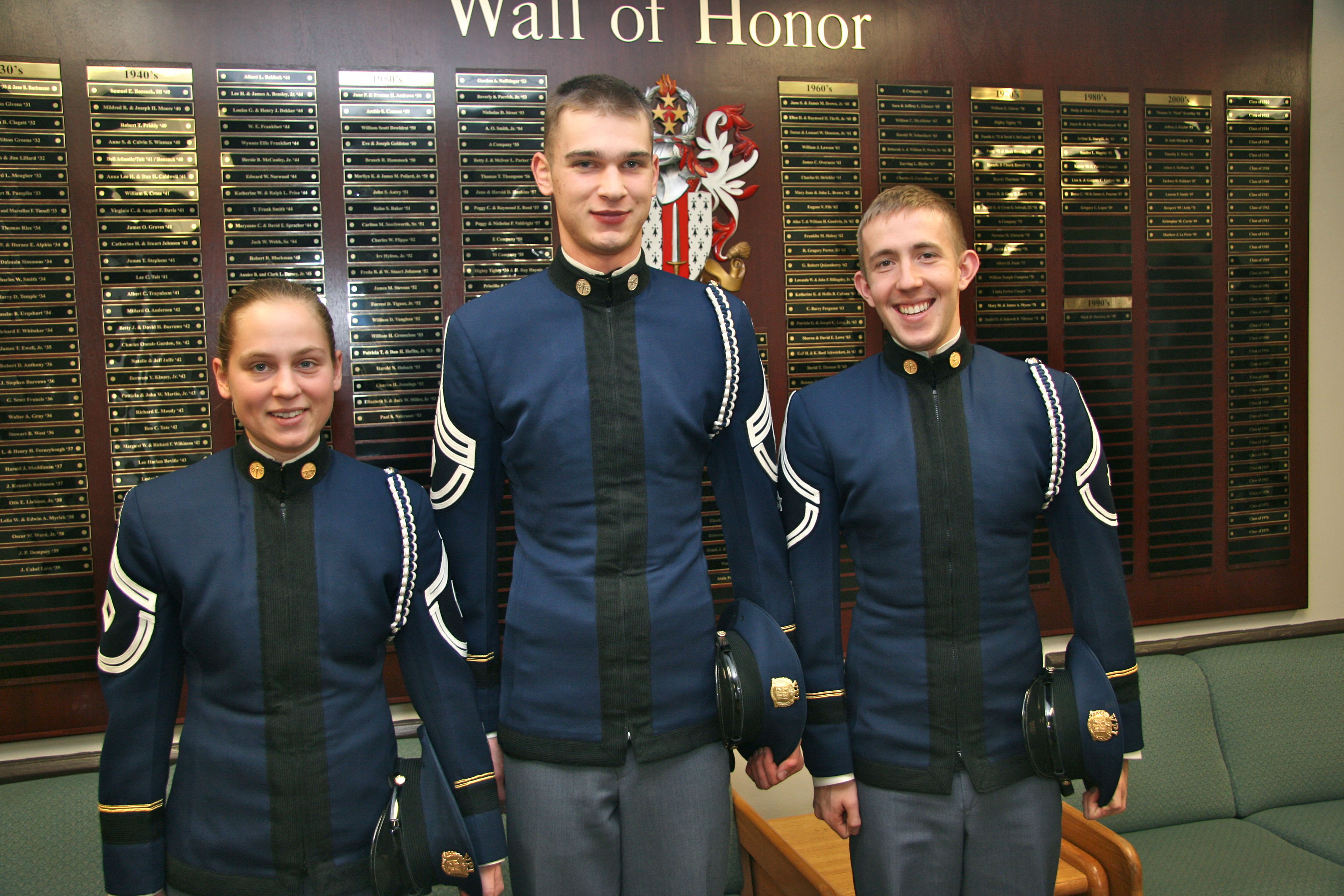 From left to right are Cadets Faith Mueller, Justin Hunts, and Charles Goodman