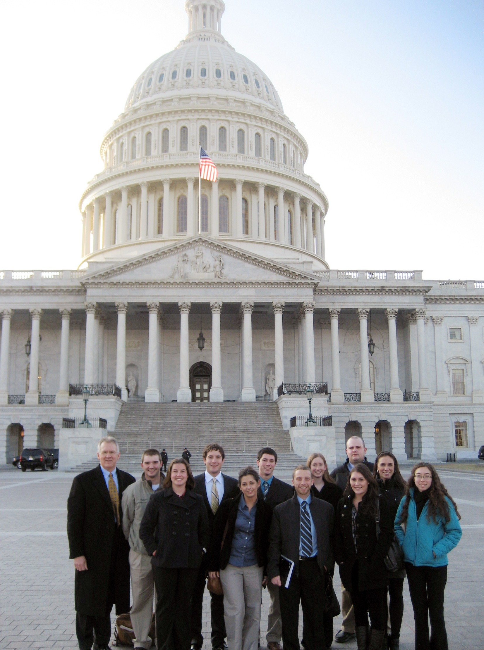 Dean Winistorfer and the Leadership Institute students standing in front of the U.S. Capitol.