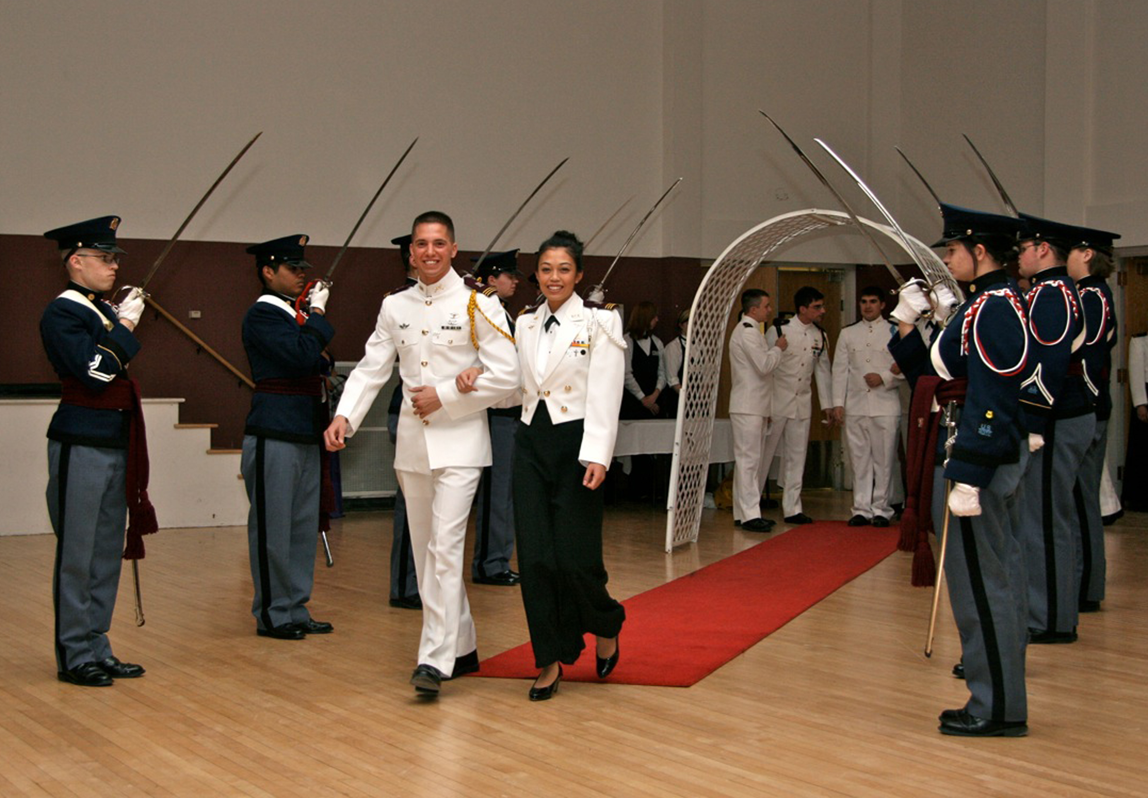Two senior cadets being presented at the Virginia Tech Corps of Cadets Military Ball in 2010