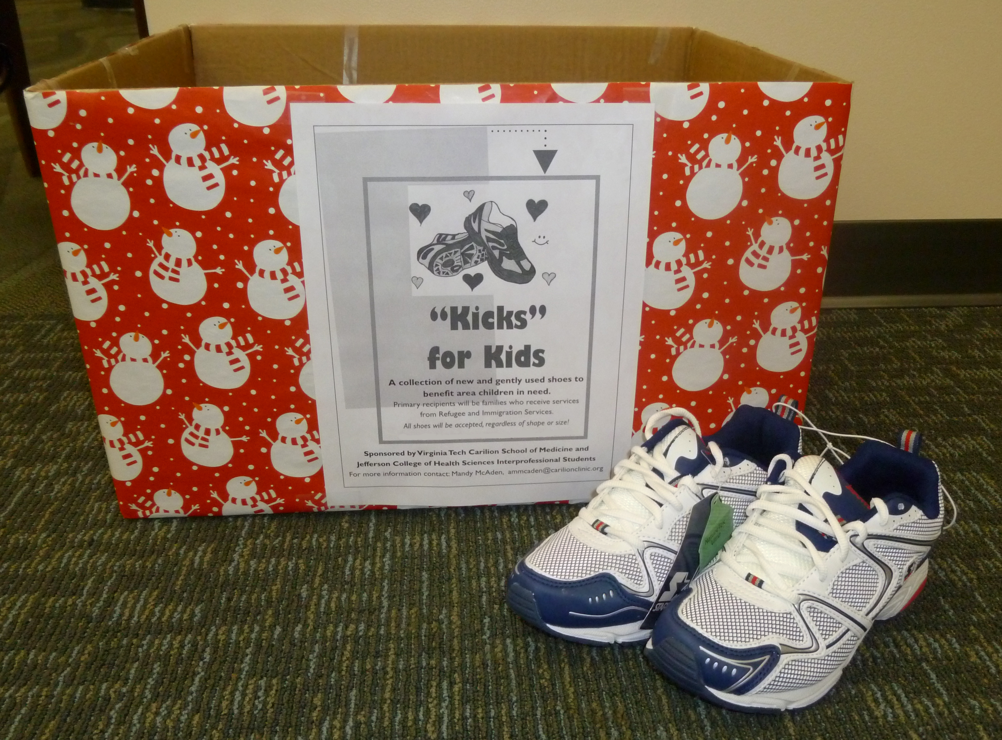 Kicks for Kids drop-off box