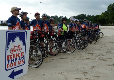 Bikers line up for photo on one of the Bike the US for MS trips